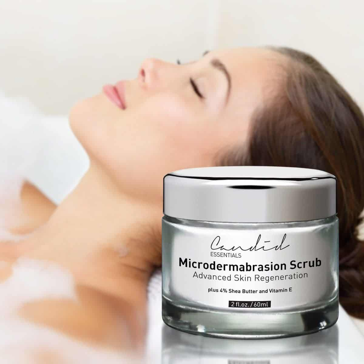 Most Professional Candid Essentials' Advanced Microdermabrasion Scrub in Foreground
