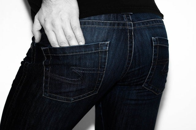 man's backside with jeans on