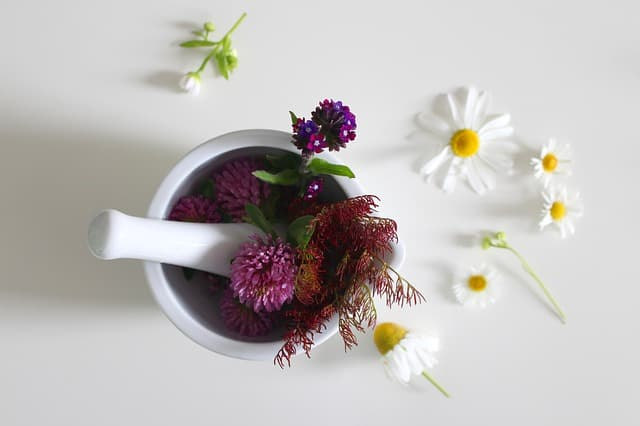 Flowers beneficial for the skin in a pounder bowl