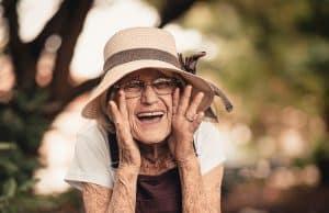 Elderly woman looking happy