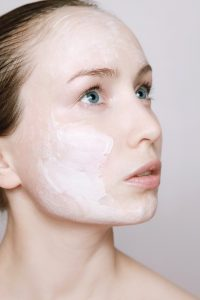 Lady with cream on face