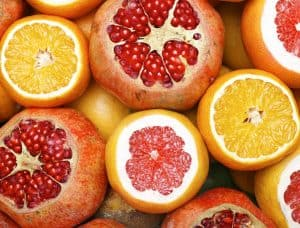 Promegranates and other fruits with vitamin c