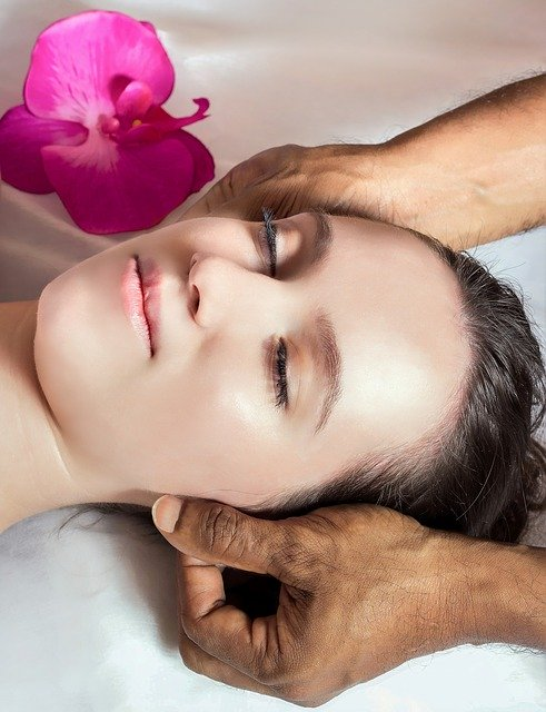 Woman having face spa